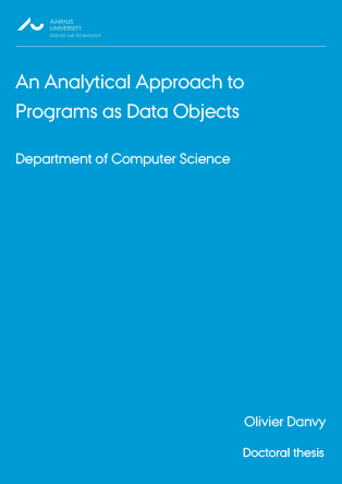 Forsidebillede til An Analytical Approach to Programs as Data Objects