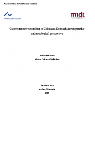 Cover for Cancer genetic counseling in China and Denmark; a comparative anthropological perspective