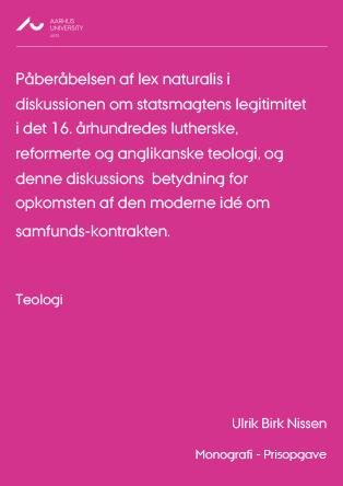 Forsidebillede til Påberåbelsen af lex naturalis i diskussionen om statsmagtens legitimitet i det 16. århundrede